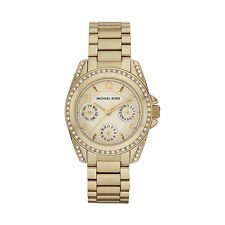NEW MICHAEL KORS MK5639 MINI BLAIR GOLD TONE W/CRYSTALS LADIES CHRONOGRAPH WATCH