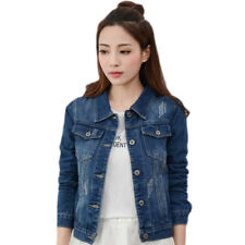 Fashion Womens Denim Jacket Slim Jeans Coat Casual Long Sleeve Vintage Outwear