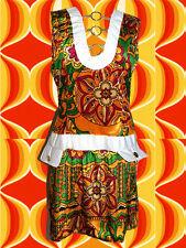 205✪ Twiggy Hippie Kostüm Prilblumen Minikleid 60er 70er Jahre FlowerPower Mod