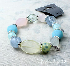 PILGRIM Bracelet Glass Silver Bali Beads Pastel Aqua Blue Green Pink Yellow BNWT