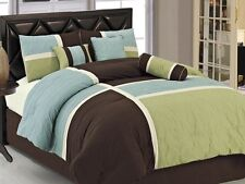 Chezmoi Collection 7-Piece Coffee Quilted Patchwork Comforter Set, King, Aqua Bl