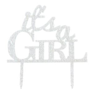 Glitter Acrylic It's A Girl Cake Topper for Baby Shower or Reveal Party (Silver)