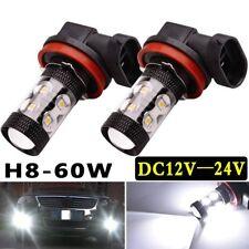 2x H8 H11 6000K White 60W High Power CREE Fog Light LED Driving Bulb DRL UK
