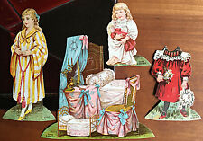 Bedroom 4 piece paper doll scene from Lion Coffee Doll House series 1st of 16