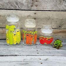Vtg Hildi Vegetables Canister Set Jars Anchor Hocking Fire King Tomatoes Corn