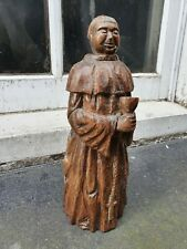 ANTIQUE HAND CARVED WOOD SCULPTURE FIGURE FIGURINE MONK