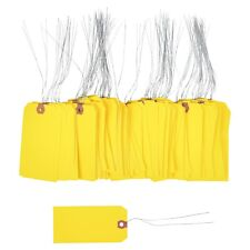 100 Pcs Of 4 34 X 2 38 Size 5 Yellow Cardstock Hang Tag Tags With Wire 13 Pt