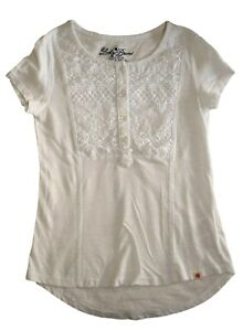 Lucky Brand Little Girls White Lace Accent Tee Shirt Top Great Condition Size S