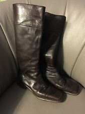 CoStume National Brown Leather Boots Side Zipper Made In Italy  38  7.5