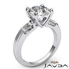 Three Stone Baguette Round Cut 1.3ct Diamond Engagement GIA F SI1 Platinum Ring
