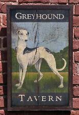 "Medium Repro-Original Art - Trade Sign ""Greyhound Tavern"" On Wood - Hunt Dog"
