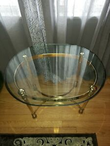 Hollywood Regency Lucite and Brass Finish with Glass Top Coffee Table 9664