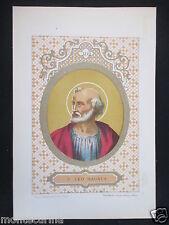1879 SAN LEONE I LEO MAGNUS ANTICA STAMPA CROMOLITOGRAFIA PAPA PAPI POPE D247 m