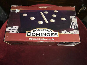 Boneyard Double 6 Dominoes Set Block & Draw Dominoes And Mexican Train 28 Pc.
