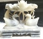 **Vintage Chinese Swans and Tulip Statue Hand-Carved Soapstone**