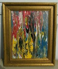 MODERN ABSTRACT OIL PAINTING ON GLASS SIGNED  #1