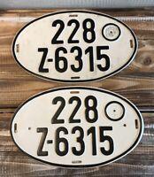 Set of 2 Vintage German Export Oval License Plates 228 Z-6315