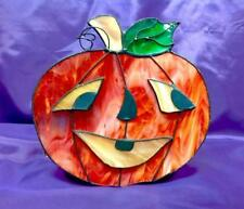 Halloween Stained Glass Candle Jack o Lantern FREE SHIPPING!