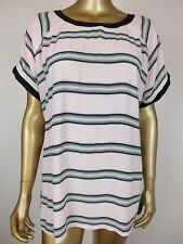 COUNTRY ROAD TOP STRIPED PINK BLACK SHIRT BLOUSE TOP TUNIC - S
