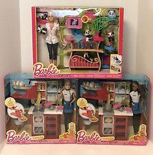 3 BARBIE PLAY SETS SPAGHETTI CHEF X 2 PANDA CARETAKER 3 SET 4 COLLECTION LOT WoW