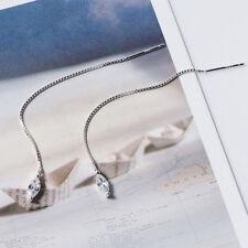 Damen Ohrringe Durchzieher Tropfen echt Sterling Silber 925 Zirkonia