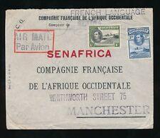 GOLD Coast 1945 POSTA AEREA FAO società a senafrica Manchester 1S + 3D franking