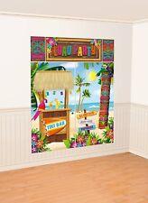 LUAU PARTY SCENE SETTER Wall Backdrop Decorations TIKI Hut BAR Hawaiian Beach