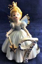 Vintage Josef Originals Blue Age 9 Birthday Angel Figurine-Princess Crown