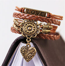 Infinity LOVE Heart Flower Friendship Vintage Copper Leather Charm Bracelet Gift