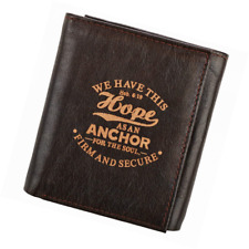 """Brown Genuine Leather """"Hope as an Anchor"""" Tri-Fold Wallet - Hebrews 6:19"""