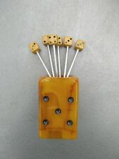 Art Deco  Bakelite Dice Cocktail Pick Holder Set. porte piques escargots