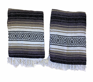 "TWO MEXICAN FALSA BLANKETS ,THROW ,SARAPE , BLANKET, YOGA , 72"" x 52""  TAN MIX"