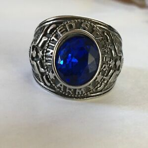 U.S. Army Ring, Stainless Steel with Gem, U.S. Seller, Choose Color/Size