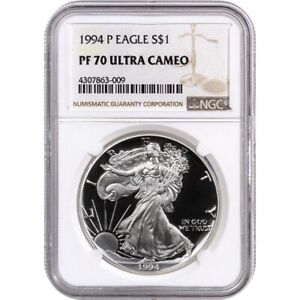 1994-P NGC PF70 Proof American Silver Eagle One Dollar Coin