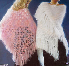 LADYS VINTAGE 1x KNITTING & 1x CROCHET PATTERN MOHAIR FRINGED WRAPS SHAWLS
