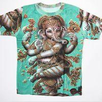 T-Shirt GANESH Baumwolle,Goa Indien Hippie Psy Trance   Gr. L  Grün / 5 *