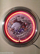 Freedom US Eagle Wanduhr Neonuhr sign Bar Neon signs clock Uhr Neonclock news