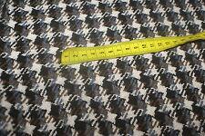4.2m Tot  CHUNKY COAT Tweed / Check Wool Blend Suiting Fabric - Choc/Cream/Grey
