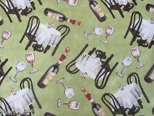 Restaurant Table For Two Al Fresco Dining Wine on Cotton Fabric By The Yard