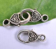 10Pcs tibetan Silver Small Heart Lobster Jewelry Clasps & Hooks 17X9MM F347