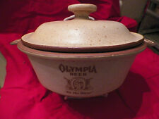 oven proof pottery lidded casserole - Olympia Beer Calif USA unusual HTF - H