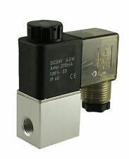"1/4"" Normally Closed Direct Acting Air Water Electric Solenoid Valve 24V DC DIN"