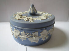 Wedgwood Jasperware Blue Covered Trinket/Candy Dish - repairs show