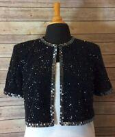 Montage by Mon Cheri Women's Black Beaded Formal Wear Cropped Jacket, Size 10P.