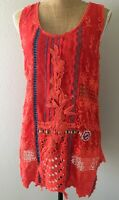 Johnny Was Boho S Hippie Heavily Embroidered Lace Floral Orange Rayon Tunic Top