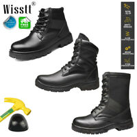 Men Steel Toe Cap Work Boots Black Outdoor Hiking Military Tactical Combat Boots