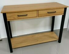 OSLO CONSOLE TABLE 2 DRAWER OAK & SOLID BLACK COLOUR 24HR DELIVERY