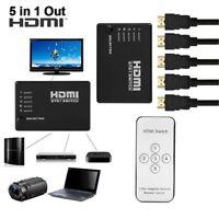 5 Port HDMI Splitter Switch Selector Switcher Hub IR Remote 1080p For HDTV CS