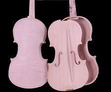 Unfinished Violin White Violin Unglued Flame Maple wood back spruce 4/4