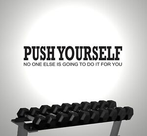 PUSH YOURSELF GYM EXERCISE MOTIVATIONAL WALL STICKER VINYL ART DECAL